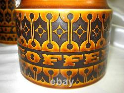 Vintage 4 Piece Hornsea England Heirloom Brown Set Flour, Sugar, Tea, Coffee