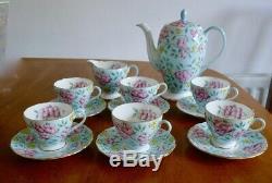 Vintage 50s Foley English bone china Foley Springdale chintz tea coffee set pot