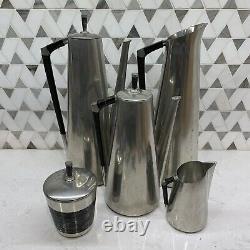 Vintage 5 Pc Set Royal Holland Pewter Coffee Tea Pot Creamer Sugar Pitcher MCM