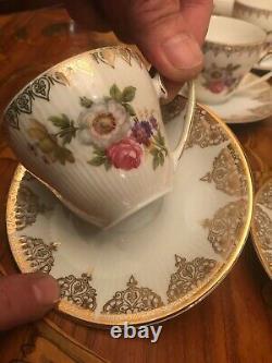 Vintage 6 Cups 6 Saucers German Bavaria Mitterteich Porcelain Coffee Set