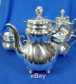 Vintage 6 piece Hutschenreuther silver overlay coffee set by Wilhelm Spahr
