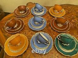 Vintage 9 Cups 9 Saucers 9 Cake Plates German V&B Lettin Porcelain Coffee Set