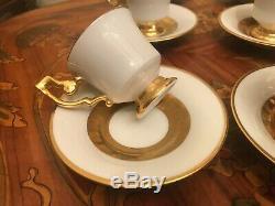 Vintage 9 Cups Saucers Germany Bavaria Heinrich Porcelain White Gold Coffee Set
