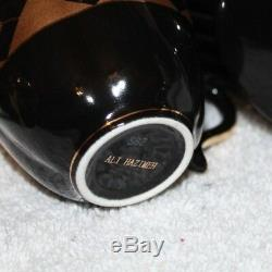 Vintage ALI HAZIMEH Rare Black & gold leaf patte 24-Piece Demitasse Coffee Set