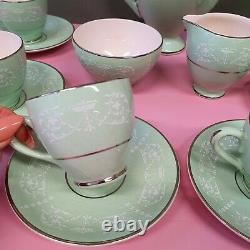 Vintage ARKLOW Ireland Belvedere Pale Green Coffee Set Silver Gilt White