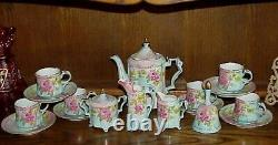 Vintage Antique Style 19 Pc. Rs Porcelain Pink Roses Chocolate Coffee Set