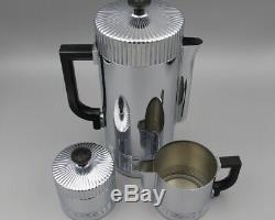 Vintage Art Deco Chrome Chase Continental Drip Coffee Set Walter Von Nessen