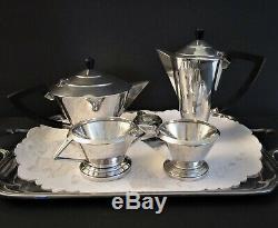 Vintage Art Deco Silver Plate (EPNS) Tea & Coffee Set 4 piece