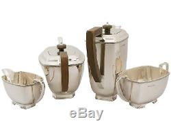 Vintage Art Deco Style Sterling Silver Four Piece Tea and Coffee Set 1749g