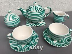 Vintage Austrian Gmundner Keramik Green Stripe Tea & Coffee Set Marked 8 pcs