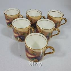 Vintage Aynsley Coffee Set Cups Saucers original Box Orchard Gold signed D Jones