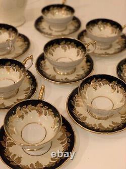 Vintage Aynsley Tea /Coffee Set for 8 Cobalt/ blue/gold/white. England