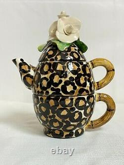 Vintage B. Ware Malibu 3 Piece Stackable Leopard Spot Flower Top Tea/Coffee Set