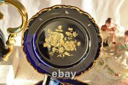 Vintage Bareuther Echt Cobalt Bavaria Porcelain Coffee Set 6 Cups Germany 24 Pcs