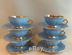 Vintage Bavaria Germany Cobalt Blue Gold Filigree 15 Piece Coffee Set