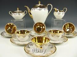 Vintage Bavaria Liane Gold Demitasse Tea Coffee Set Service For 6 Bavarian