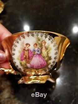 Vintage Bavaria Waldershof German Handarbeit 22 Karat Gold Tea Coffee Set 17 pcs