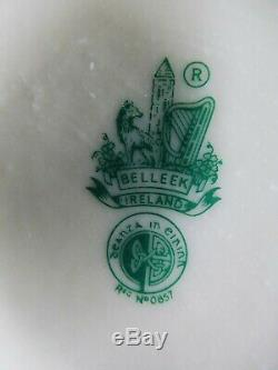 Vintage Belleek Coffee Set Yellow Pattern, Irish, 6th Generation Green Mark, 1965