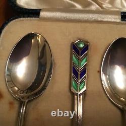 Vintage Boxed set of 6 Silver & Enamel Tea or Coffee Spoons by Turner & Simpson