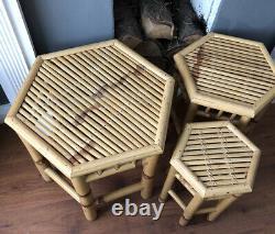 Vintage Cane bamboo Rattan Coffee Boho Retro side tables, Set Of 3 Art Deco