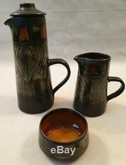 Vintage Celtic Pottery Newlyn Cornwall Medallion Coffee Set for Six 1960s 1970s