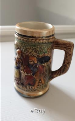 Vintage Ceramic Beer Stein Traditional Mug Luxembourg crafted coffee set of 4