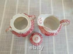 Vintage Copeland Spode Camilla Red And White Victorian Tea Coffee Set
