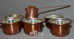 Vintage Copper Turkish Coffee Set Pot And 5 Cups