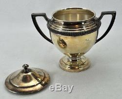 Vintage Crescent Silverplate Silver On Copper 4pc Coffee Set Creamer Sugar Tray