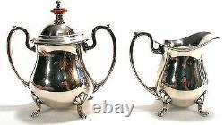 Vintage Cresent Silver Coffee Tea Pot Cream Sugar Tray Nouveau Serving Set