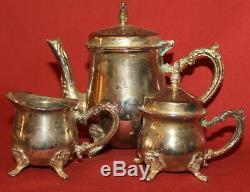 Vintage Decorative Silverplated Footed Small Tea & Coffee Set