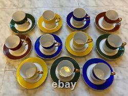 Vintage Demitasse Tea Coffee Espresso Cup Saucer Set Gold E&R JKW Germany