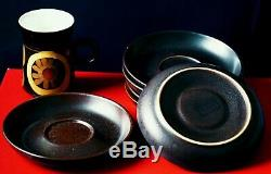 Vintage Denby 1970' Arabesque Stoneware Coffee Set of 6 cups, saucers, coffee pot