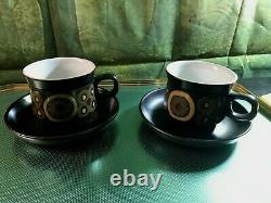 Vintage Denby 70' Arabesque Pamberton Coffee/ Tea Set of 6 cups and Saucers 12 p