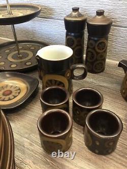 Vintage Denby Arabesque Coffee Set, Plates Mugs Teapot 78 Items Stonewear