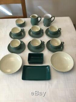 Vintage Denby Green Wheat Dinner & Tea Set Inc Stoneware Coffee Set Of 86 Pcs