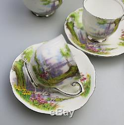Vintage English Porcelain Roslyn China Peacehaven Swan Lake Coffee Set C. 1930's