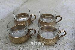 Vintage Engraved Brass Tea Coffee Set with Tray 4 Cups and Thermos Bottle #549