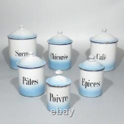 Vintage French Enamelware Enamel Canister Set, Blue & White, Sugar Coffee, 6 pcs