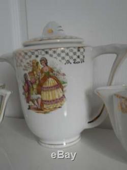 Vintage French Moulin des Loups porcelain 23 piece tea set / coffee set