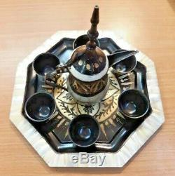 Vintage Handmade Palestinian Engraved Brass Mother of Pearl Coffee Set Bethlehem