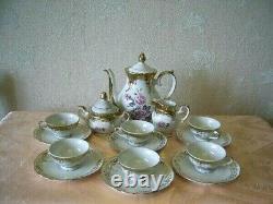 Vintage Handmade Porcelain Meissen Rose Coffee Tea Home 9 Set Made In Germany