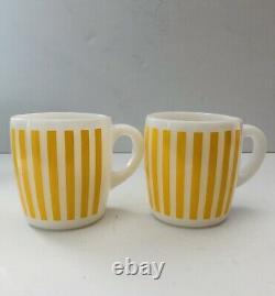 Vintage Hazel Atlas Candy Stripe Milk Glass Coffee Mugs Set Of 6 Yellow Red Blue