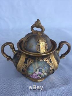 Vintage Hertel Jacob Bavaria Germany Coffee Tea Set Black Gold Scene 15 pcs