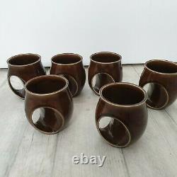 Vintage Holkham Pottery Coffee Set Owl Eyes 6 Mugs milk jug sugar bowl teapot