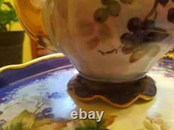 Vintage Hutschenreuther Hand Painted Blueberry Tea Coffee Chocolate Pot Set