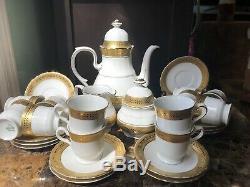 Vintage Hutschenreuther Porcelain 27 Piece Coffee Set Bavaria, Germany Gold Trim