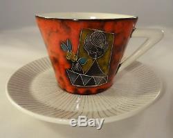 Vintage Italian San Marino Sgraffito Tea Coffee Set Red Lava Lady Design 1960's