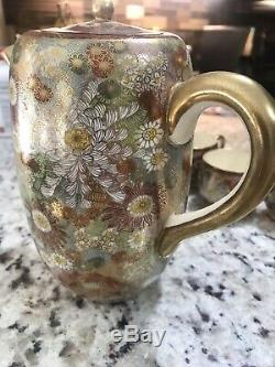 Vintage Japanese Porcelain Ceramic Kutani Tea Coffee Set Gold Flowers