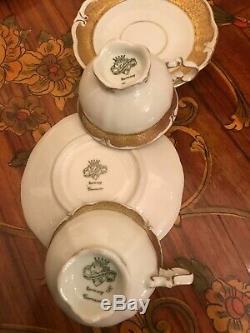 Vintage JlMenau Graf Von Henneberg 6 cups 1 Pot Milk Jug Porcelain Coffee Set